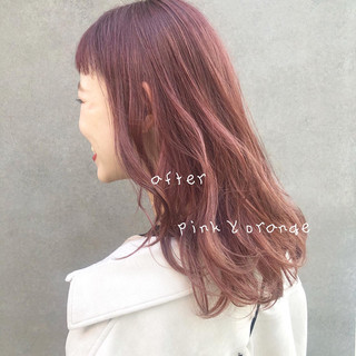 ミディアム ラベンダーピンク 秋冬スタイル 冬カラー ヘアスタイルや髪型の写真・画像