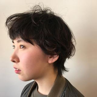 簡単ヘアアレンジ ショート 外国人風 パーマ ヘアスタイルや髪型の写真・画像