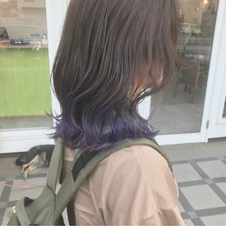 ミディアム 透明感 ストリート パープル ヘアスタイルや髪型の写真・画像