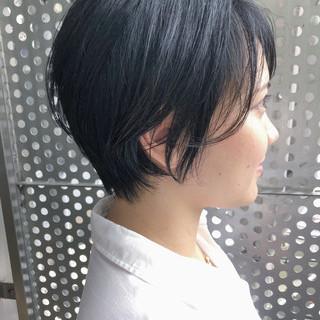 黒髪 パーマ ナチュラル ショート ヘアスタイルや髪型の写真・画像