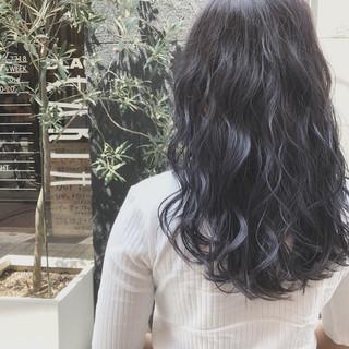 ゆるふわ 夏 ラベンダー 波ウェーブ ヘアスタイルや髪型の写真・画像
