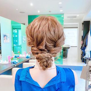 三つ編み 簡単ヘアアレンジ ヘアセット アップスタイル ヘアスタイルや髪型の写真・画像