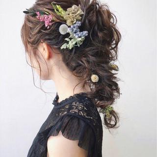 女子力 ゆるふわ 結婚式 フェミニン ヘアスタイルや髪型の写真・画像