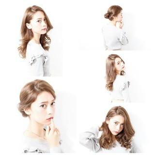 ロング アッシュ ゆるふわ ガーリー ヘアスタイルや髪型の写真・画像