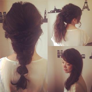 編み込み ロング ヘアアレンジ ヘアメイク ヘアスタイルや髪型の写真・画像 ヘアスタイルや髪型の写真・画像