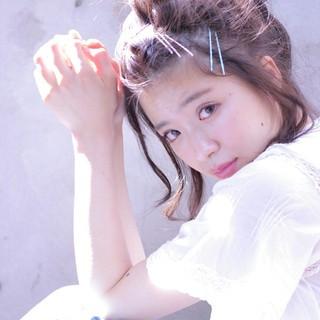 夏 お団子 メッシーバン ボブ ヘアスタイルや髪型の写真・画像