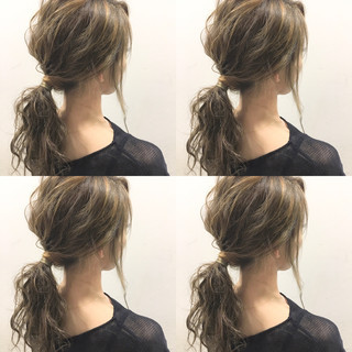 外国人風 フェミニン セミロング 波ウェーブ ヘアスタイルや髪型の写真・画像
