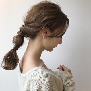 ミディアム ハーフアップ ナチュラル 簡単ヘアアレンジ ヘアスタイルや髪型の写真・画像