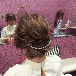 結婚式 編み込み エレガント ミディアム ヘアスタイルや髪型の写真・画像
