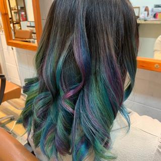 ダブルカラー ストリート ブリーチ セミロング ヘアスタイルや髪型の写真・画像 ヘアスタイルや髪型の写真・画像