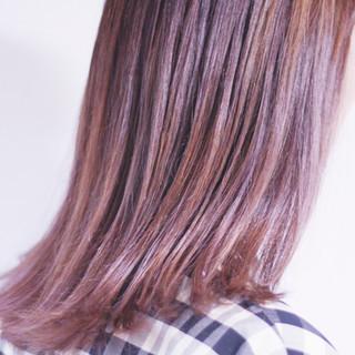 パープル パープルカラー ナチュラル ラベンダーグレージュ ヘアスタイルや髪型の写真・画像