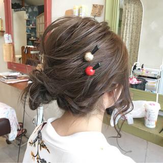 夏 涼しげ セミロング ヘアアレンジ ヘアスタイルや髪型の写真・画像
