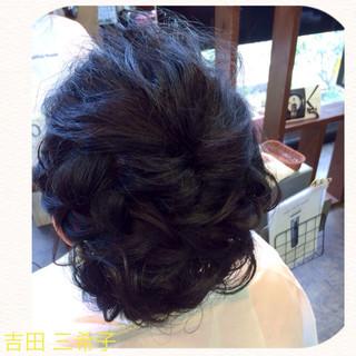 着物 ヘアアレンジ ミディアム 結婚式 ヘアスタイルや髪型の写真・画像