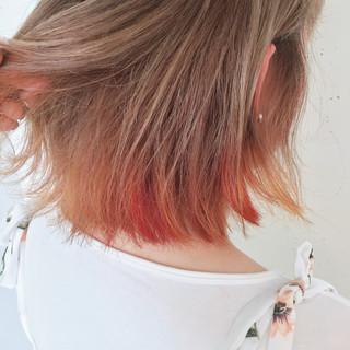 ボブ 夏 イエロー ダブルカラー ヘアスタイルや髪型の写真・画像