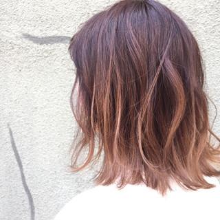 アッシュ ミディアム ストリート ハイライト ヘアスタイルや髪型の写真・画像