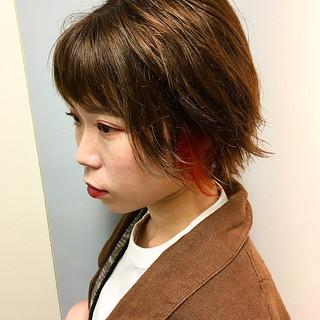 アンニュイほつれヘア ボブ デート オレンジカラー ヘアスタイルや髪型の写真・画像