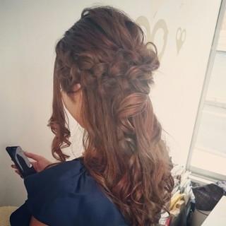 結婚式 ヘアアレンジ ハーフアップ 大人かわいい ヘアスタイルや髪型の写真・画像