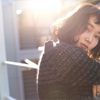 シースルーバング 外国人風 ストリート ボブ ヘアスタイルや髪型の写真・画像