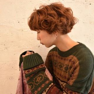 ボブ 秋 外国人風 ガーリー ヘアスタイルや髪型の写真・画像
