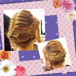 コンサバ 三つ編み 結婚式 ヘアアレンジ ヘアスタイルや髪型の写真・画像 ヘアスタイルや髪型の写真・画像