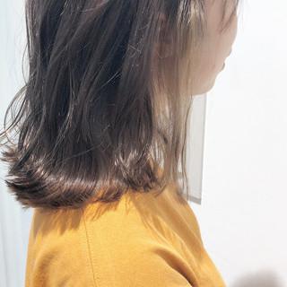ボブ ハイライト フェミニン 切りっぱなし ヘアスタイルや髪型の写真・画像