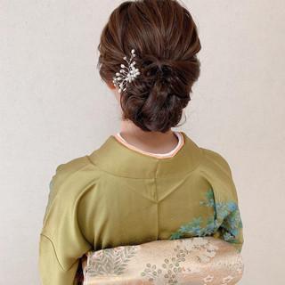 訪問着 結婚式 エレガント ヘアアレンジ ヘアスタイルや髪型の写真・画像