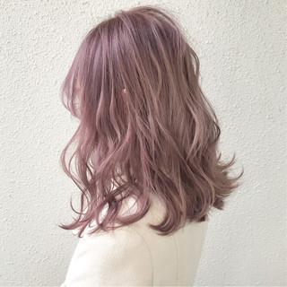 成人式カラー ラベンダー フェミニン ピンク ヘアスタイルや髪型の写真・画像