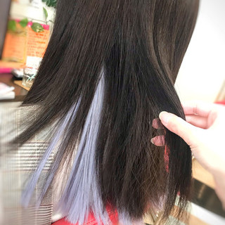 ブルー セミロング エクステ ハイトーン ヘアスタイルや髪型の写真・画像