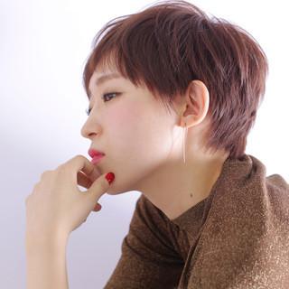 ナチュラル 暗髪 ショート ベリーショート ヘアスタイルや髪型の写真・画像
