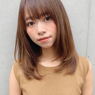 ワンカール ストレート ナチュラル可愛い 前髪あり ヘアスタイルや髪型の写真・画像