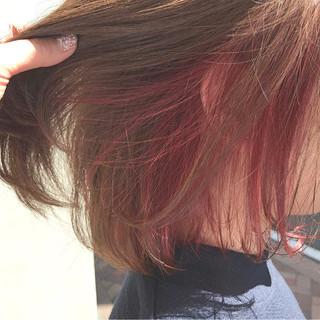 ボブ インナーカラー ピンク ストリート ヘアスタイルや髪型の写真・画像