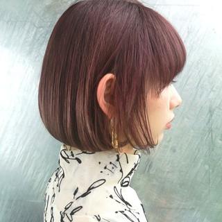 ボブ ラベンダーピンク 大人女子 大人かわいい ヘアスタイルや髪型の写真・画像