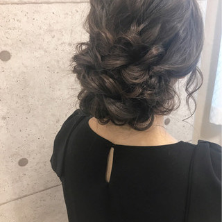 大人女子 ヘアアレンジ 結婚式 セミロング ヘアスタイルや髪型の写真・画像