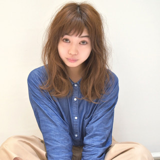 ガーリー 大人女子 セミロング パーマ ヘアスタイルや髪型の写真・画像