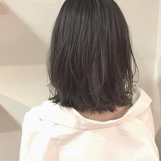 ハイライト ナチュラル ボブ 切りっぱなし ヘアスタイルや髪型の写真・画像