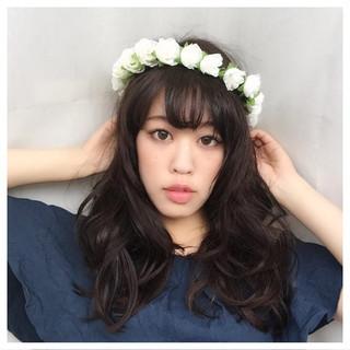 ヘアアレンジ 黒髪 夏 フェミニン ヘアスタイルや髪型の写真・画像