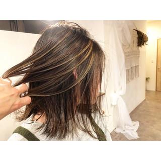 外国人風カラー 外国人風 ハイライト ボブ ヘアスタイルや髪型の写真・画像