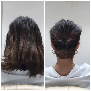 オフィス 簡単ヘアアレンジ デート ミディアム ヘアスタイルや髪型の写真・画像