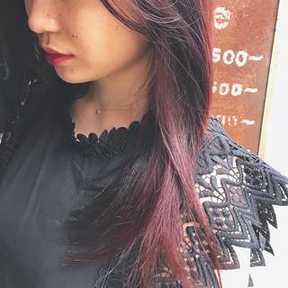 セミロング レッドブラウン レッドカラー oggiotto ヘアスタイルや髪型の写真・画像