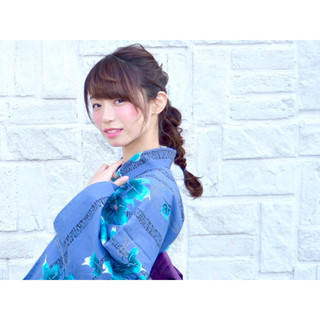 夏 お祭り 三つ編み ロング ヘアスタイルや髪型の写真・画像