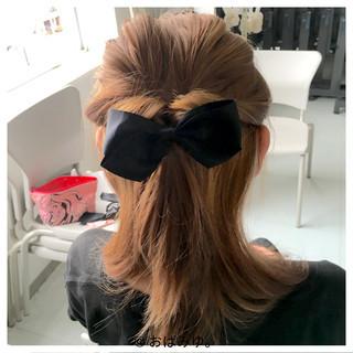 ショート ハーフアップ ゆるふわ セミロング ヘアスタイルや髪型の写真・画像