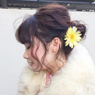 前髪あり パーマ 簡単ヘアアレンジ ナチュラル ヘアスタイルや髪型の写真・画像