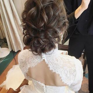 セミロング 大人かわいい 結婚式ヘアアレンジ フェミニン ヘアスタイルや髪型の写真・画像