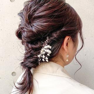 編みおろし セミロング フェミニン 編み込みヘア ヘアスタイルや髪型の写真・画像