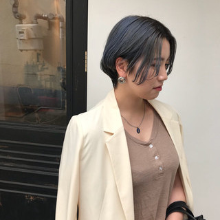 ショート ターコイズブルー ブルー ストリート ヘアスタイルや髪型の写真・画像