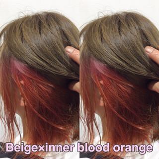 ミディアム ベージュ ストリート インナーカラーオレンジ ヘアスタイルや髪型の写真・画像