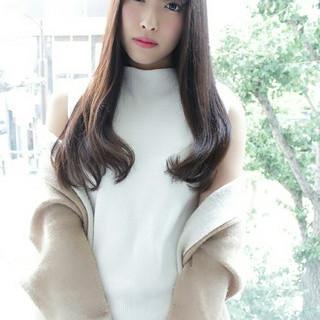 ロング 大人女子 前髪あり 暗髪 ヘアスタイルや髪型の写真・画像