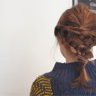 ヘアアレンジ 簡単ヘアアレンジ ミディアム 三つ編み ヘアスタイルや髪型の写真・画像