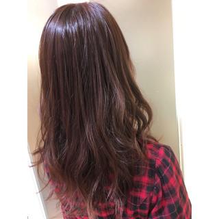グレージュ ピンクアッシュ セミロング ピンク ヘアスタイルや髪型の写真・画像