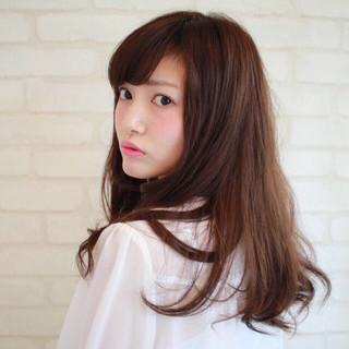 大人かわいい ロング セミロング 丸顔 ヘアスタイルや髪型の写真・画像